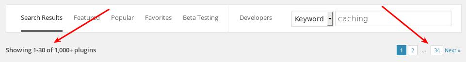 WordPress Plugin Search Bar with 1000+ results