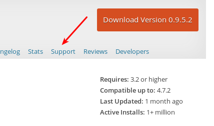 Download link showing Support tab