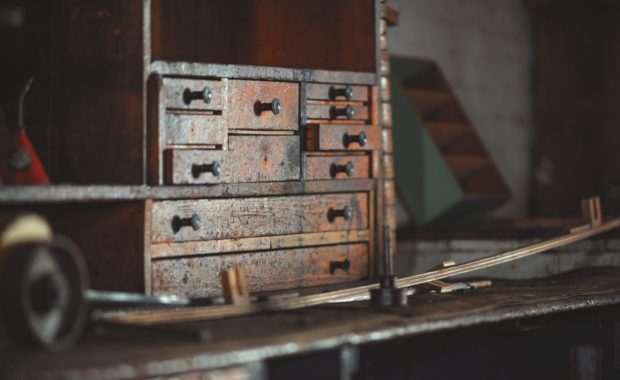 old wood toolbox