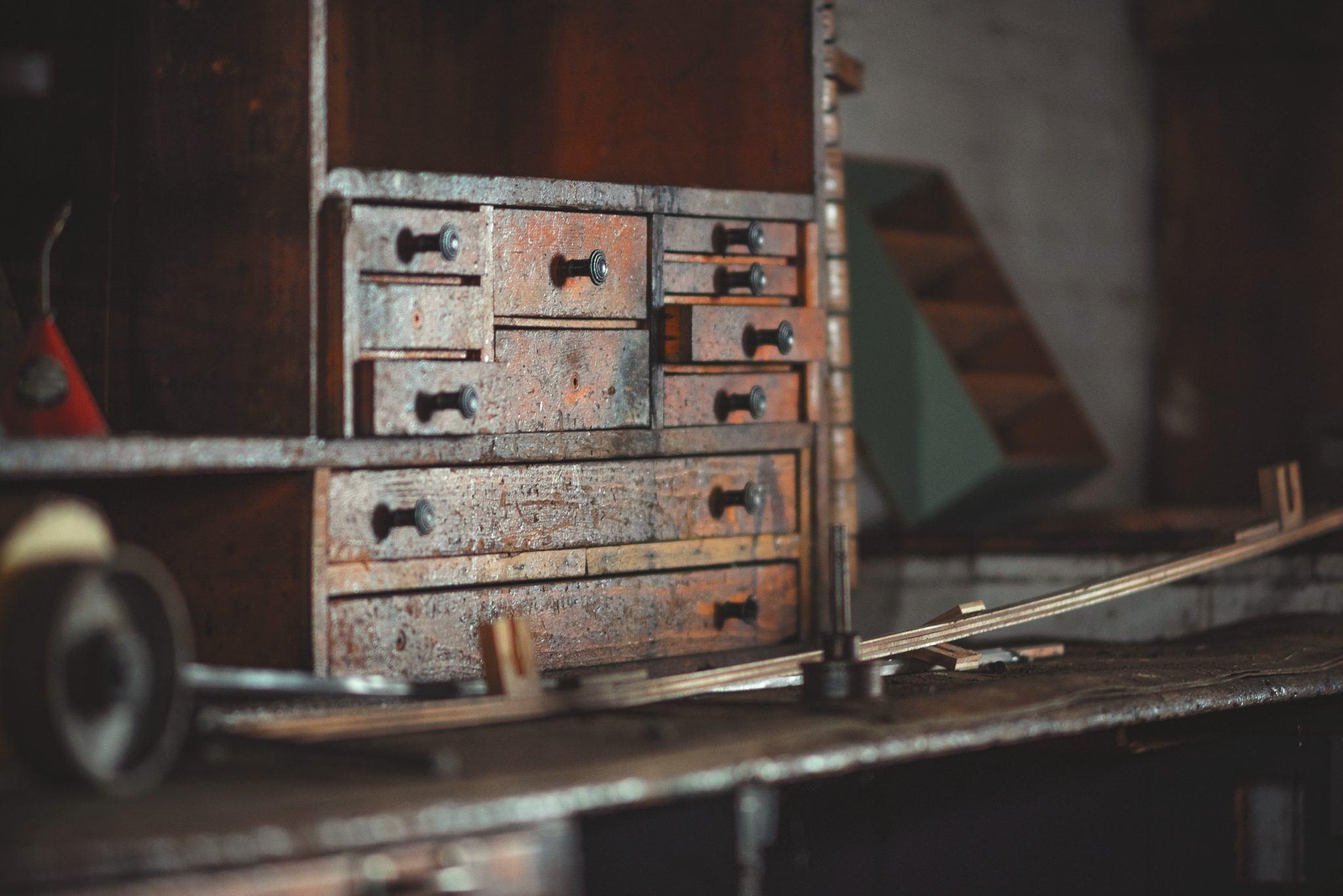 old wood toolbox