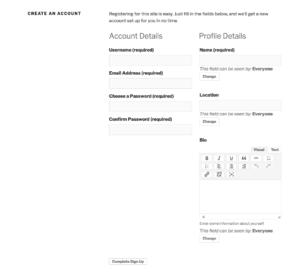 BuddyPress registration form