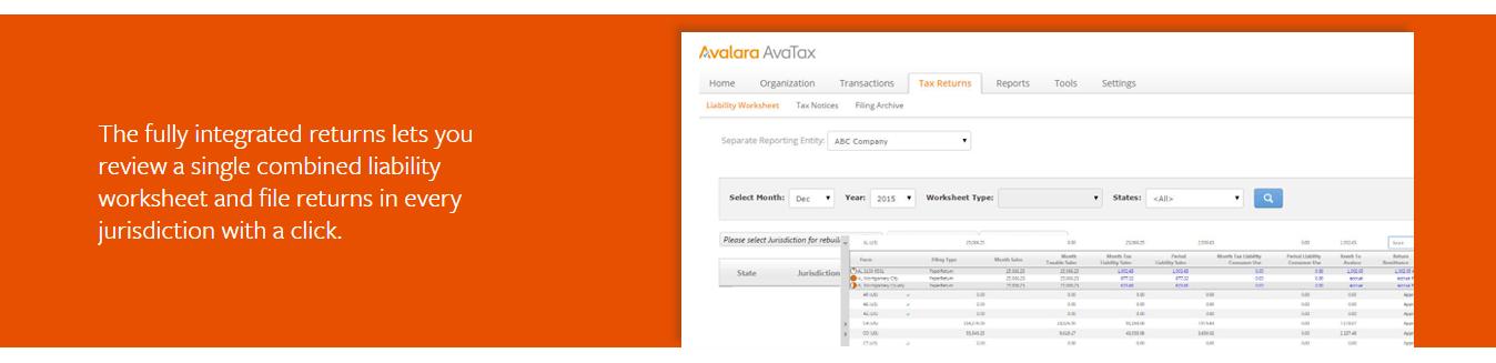Avalara tax returns