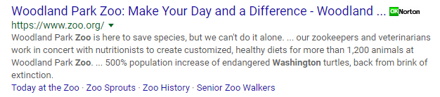 Featured snippet for Google search: zoo Washington State