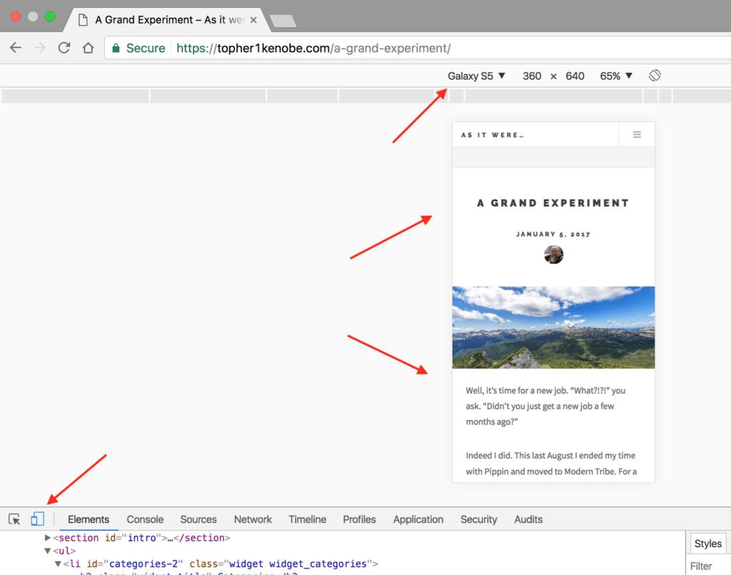 Screenshot of Chrome's mobile testing tools