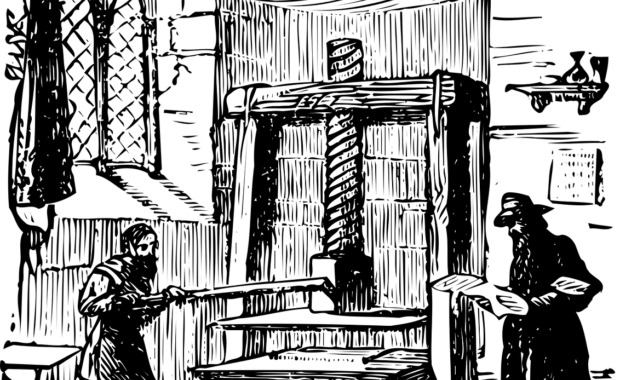 Black and white sketch of 2 people using a Gutenberg-style printing press