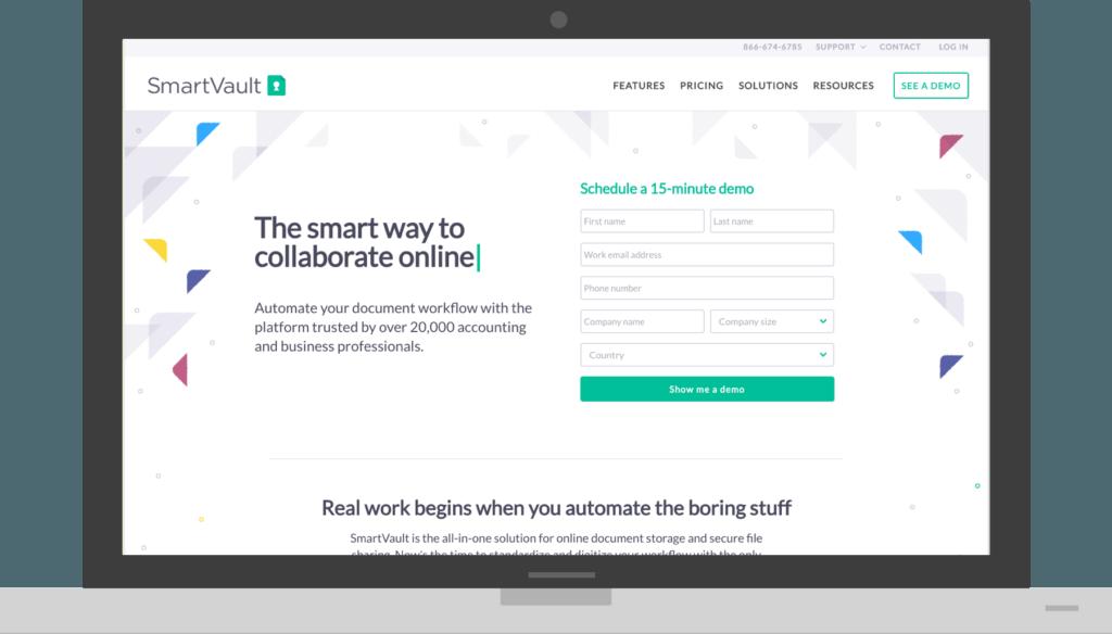 SmartVault's newly designed homepage