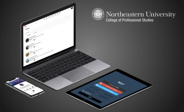 multiple devices showing Northeastern University's website