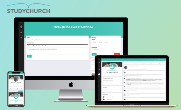 mutliple devices showing StudyChurch's website