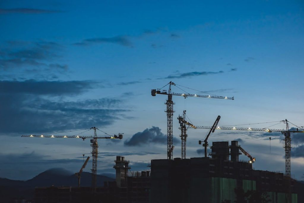 skyline of cranes and half built skyrises