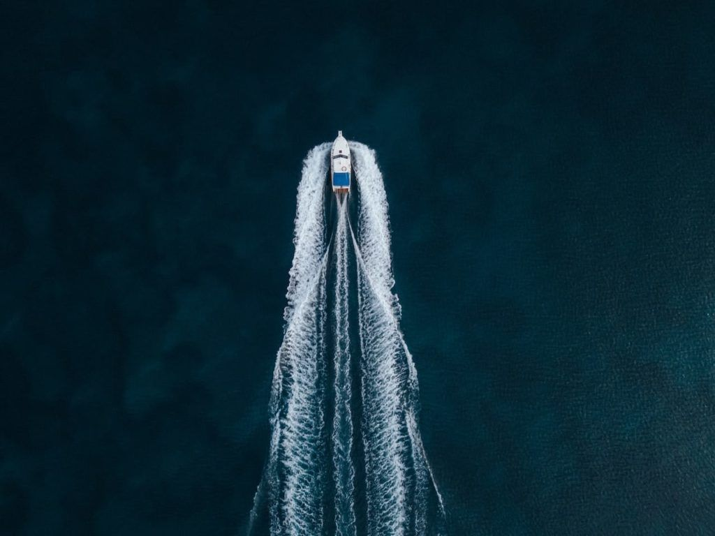 Arial view of speed boat